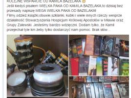 paczka charytatywna dla Stowarzyszenia Hospicjum im Królowej Apostołów w Mławie